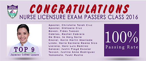 100% Passing Rate for Southville-BS Nursing In Licensure Exam 2016