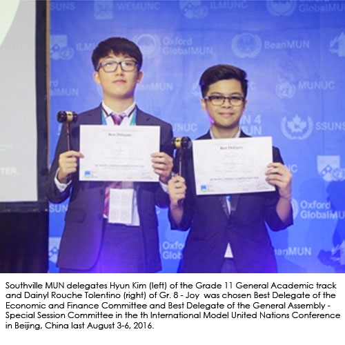 Southville Delegates Win Major Awards in International Model United Nations in Beijing