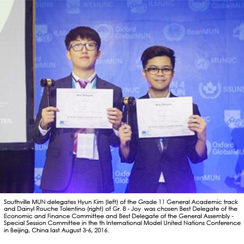 Southville Delegates Win Major Awards in International Model United Nations in Beijing
