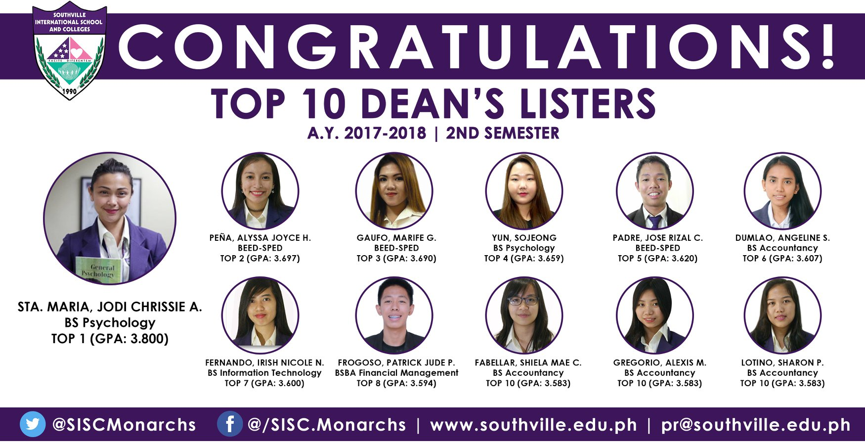 Southville Awards Top College Students, Jodi Sta Maria Ranks 1st