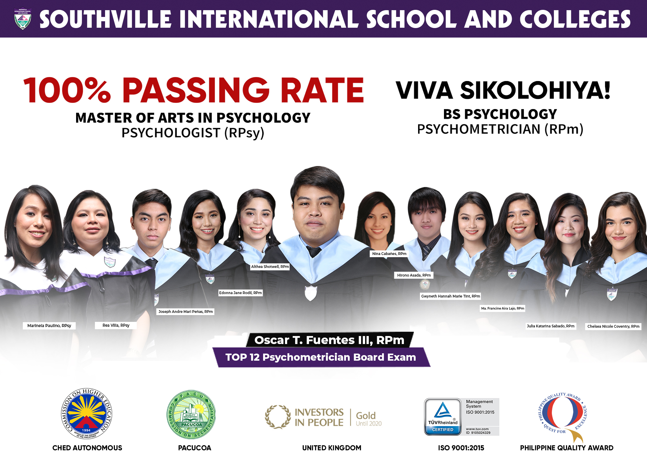 Southville MA Psychology Pioneer Graduates Bag 100% Passing Rate in Boards
